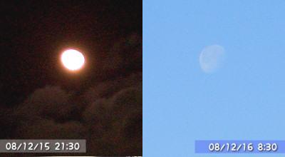 12/15と12/16の北見の空の月