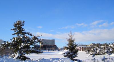 01/15:オホブラ百貨店の事務所から見た北見工大方面の景色