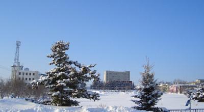 02/09:オホブラ百貨店の事務所から見た北見工大