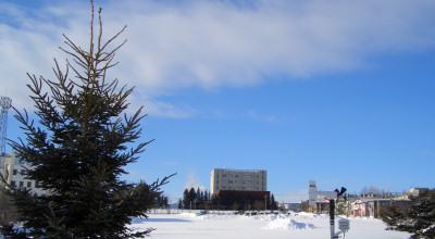 02/19:オホブラ百貨店の事務所から見た北見工大