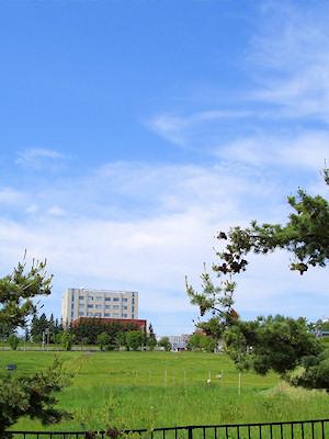 06/10:オホブラ百貨店の事務所の駐車場から見た北見工大方面