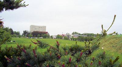 06/11:オホブラ百貨店の事務所の駐車場から見た北見工大方面