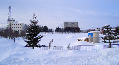 1/18:オホブラ百貨店の事務所駐車場から見た景色