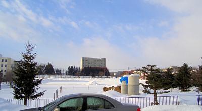 1/29:オホブラ百貨店の事務所駐車場から見た景色